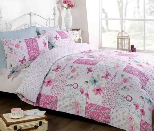 Dream Patchwork Duvet Cover Quilt Bedding Set, Pink, Double (Flowers & Butterflies)