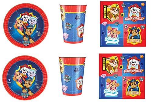 CDC Kit n° 4 pour fête d'anniversaire Pat' Patrouille 32 assiettes, 32 gobelets, 40 serviettes, 1 nappe