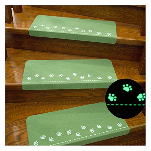 X-Life Teppich Stufenmatten Treppenstufen Stufenschutz für Ihre Treppe, Nacht Luminous Pads, Leuchtende Stock Treppe Teppiche, Anti-Rutsch 55x22cm (Grün-Rechteckig-3 Stück)