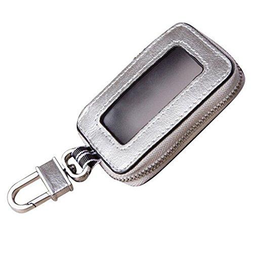 Esdrem Portachiavi unisex in vera pelle, custodia per le chiavi dell'automobile, con cerniera e finestra trasparente argento Silver