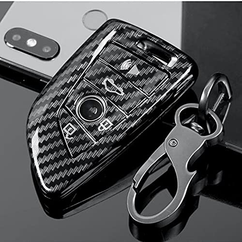 ZYHYCH Cubierta de la Caja de la Llave del Control Remoto del Coche de Fibra de Carbono, Apto para BMW 1 2 3 4 5 6 7 Series X1 X3 X4 X5 X6 F30 F34 F10 F07 F20 G30 F15 F16 E60, Blanco