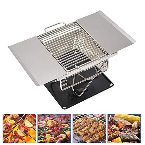 HFM Tragbarer Grill, Grill, hochwertiger Holzkohlegrill aus Edelstahl 304 für Picknick-Gartenterrassen-Campingreisen