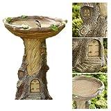 Rwtcft Fairy House Bird Bath, Tree House Bird Bath Feeder, Resina de Apariencia de Madera Pintada a Mano para Todo Tipo de Clima, para Exteriores Decoración de comederos de pájaros.