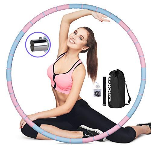SEANCHEER Hullahub Reifen zum Abnehmen, Hula-Hoop-Reifen Erwachsene Gewichten Einstellbar von 1.2kg-3kg, 8 Abschnitt Abnehmbares Einfach zu Montieren und zuTragen,Für Bauchformung.
