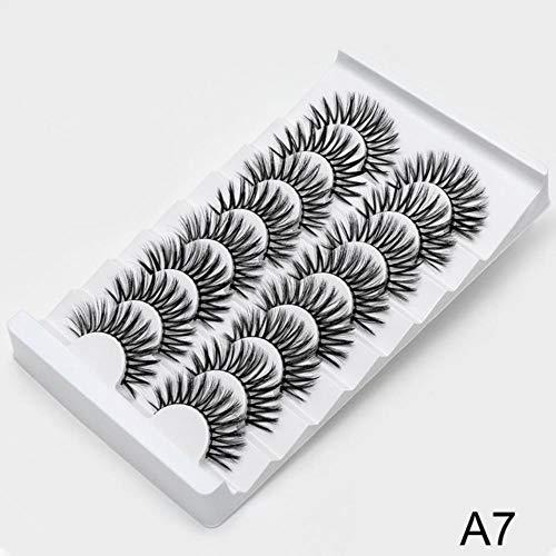 KADIS 2/8/20 Pairs Thick False Eyelashes Cross Lashes Curling Messy Soft 3D Fake Eyelashes Makeup Tools Natural Long Eyelash Extension,A7