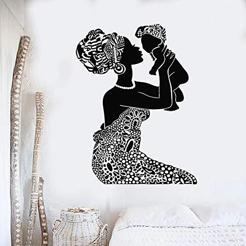 Vinilo Tatuajes de Pared Mujeres indígenas africanas Madre con jardín de Infantes habitación del bebé decoración del Dormitorio en casa Mural