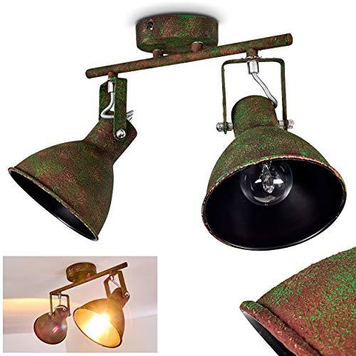 Deckenleuchte Lisele, Deckenlampe aus Metall in Rost/Grün, 2-flammig, mit verstellbaren Strahlern, 2 x E27-Fassung, max. 60 Watt, Retro/Vintage Design