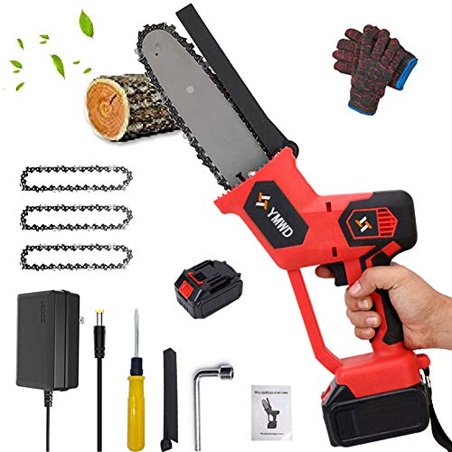 Motosierra eléctrica de 20,32 cm mini inalámbrica de mano, 1280 W, 21 V, funciona con pilas, portátil, corte de madera, recargable, motosierra para patio, jardín, árbol cortador, rama de árbol, rojo