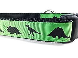5. CANINEDESIGN Green Nylon Dinosaur Dog Collar