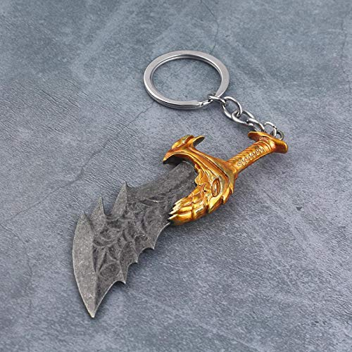 MINTUAN Gott des Krieges Kratos Klinge des Chaos Schlüsselbund Kratos Axt Dämon Messer Waffen Modell Schlüsselanhänger Männer Auto Schlüsselring Schmuck Geschenk