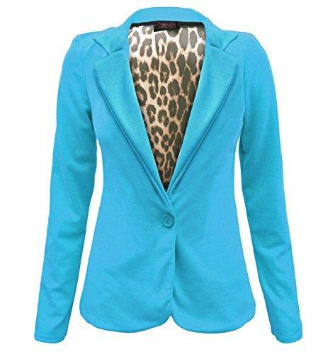 Envy Boutique chamarra de rayas para mujer con un botón, con forro de animal, estampado de rayas, tallas 8-14 Turquesa turquesa 36