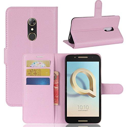 Tasche für Alcatel A7 Hülle, Ycloud PU Kunstleder Ledertasche Flip Cover Wallet Case Handyhülle mit Stand Function Credit Card Slots Bookstyle Purse Design rosa