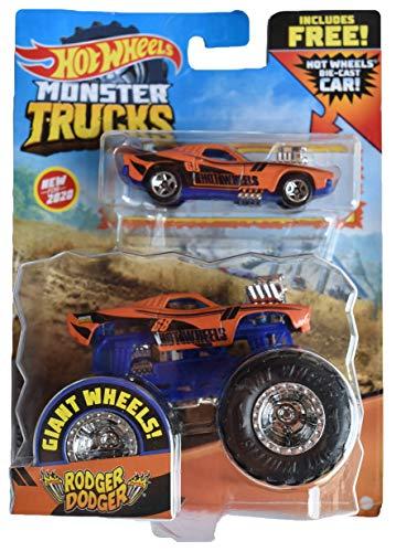 Hot Wheels Monster Trucks 1:64 Scale Rodger Dodger, Includes Hot Wheels Die Cast Car
