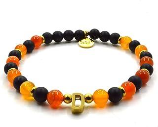 Braccialetto uomo donna elastico distanziatori acciaio pietre naturali Onice Nero e Agata Arancione