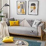 Homeen Sala Funda Protectora Sofa Cubiertas Delgadas de cojín de sofá de Felpa,Tirar sofá Bordado,Cubierta de Protector de sofá Antideslizante nórdico Moderno-Gris_90 * 120cm
