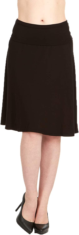 X America Foldover Waist Regular & Plus Size Midi Skirts for Women, Made in USA