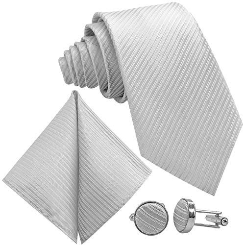 GASSANI 3-SET Weisse Krawatte Streifen gestreift | Binder Weiss Manschettenknöpfe Einstecktuch | Krawattenset zum Anzug Seide-Optik