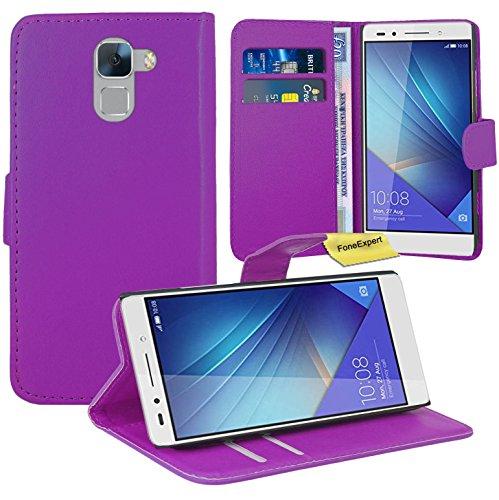 FoneExpert® Huawei Honor 7 Handy Tasche, Wallet Hülle Flip Cover Hüllen Etui Ledertasche Lederhülle Premium Schutzhülle für Huawei Honor 7 (Lila)