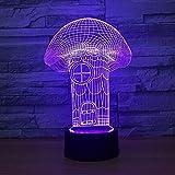 3D Led Ilusión Luz Noche Casa De Setas 3D Dormir Lámpara 7 Colores Lámpara Mesa Cabecera Habitación Niños Vacaciones Regalos