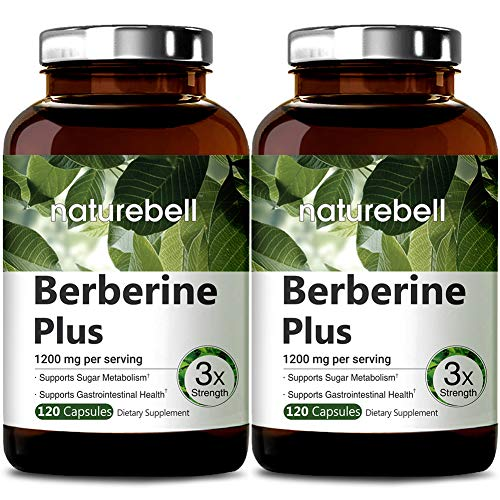 NatureBell Berberine Plus, 1200mg Per Serving, 120 Capsules, Supports Glucose Metabolism, Immune System, Fat Burn, Cardiovascular and Gastrointestinal Function, No GMOs and Made in USA (2 Pack)