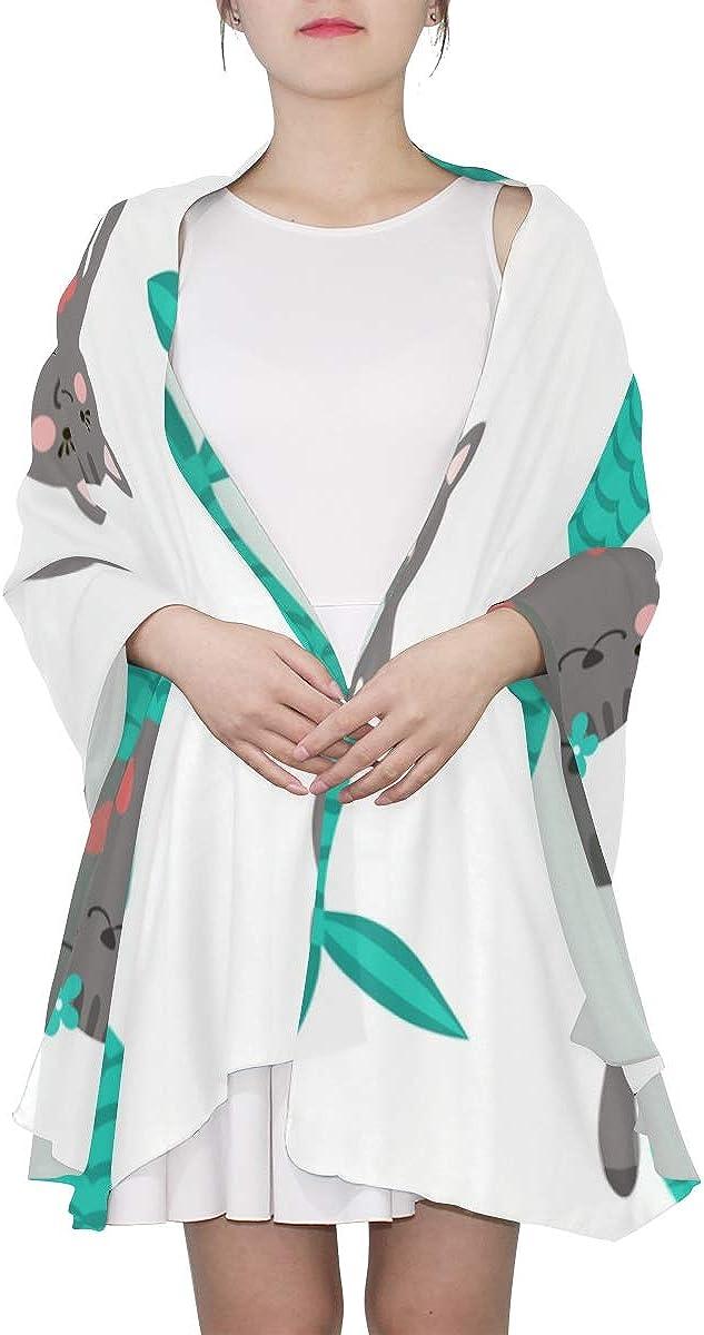 Fashion Scarfs Women Magic Mermaid Tail Cute Cat Long Wrap Shawl Scarf Designer Women Lightweight Print Scarves Multi Scarf Shawl Wrap Women