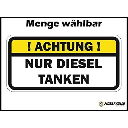 Aufkleber Diesel Schild Warnhinweis Sticker Set 8x Autoaufkleber Waschanlagenfest Witterungs Und Uv Beständig Auto
