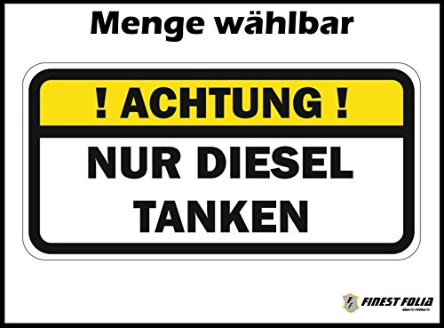 Finest Folia ! Achtung ! NUR Diesel TANKEN Aufkleber Tankdeckel Warnung PKW Kraftstoff