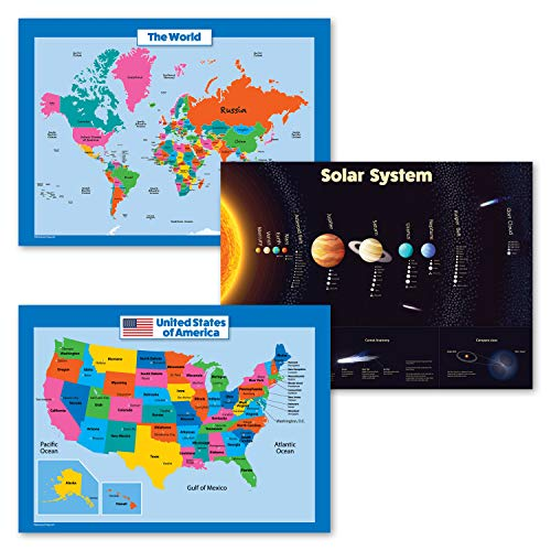 """3 Pack - USA & World Map for Kids + Solar System Poster Set (Laminated, 18"""" X 24"""")"""