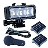 Suptig Waterproof Light High Power Dimmable Dual Battery Waterproof LED Video Light Fill Night Light Diving Underwater Light for Gopro Hero 9 Hero 8 Hero 7Hero 6 Hero 5 Hero 4 Hero 3+ Hero 3 Session