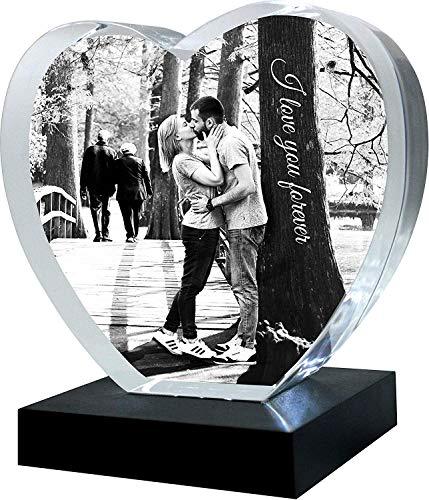 Galerie Kristall Kristall-Glas Herz ohne Spitze mit Wunsch-Bild und Wunsch-Text (Größe XXL, 150 x 140 x 50mm, mit LED-Lichtsockel inkl. Batterien)