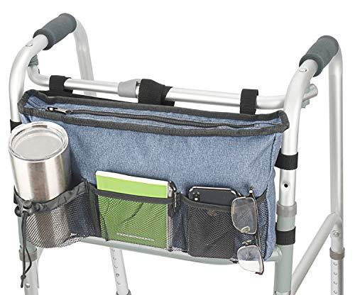 Update Walker Bag Hand Free Storage Bag Walker Attachment Handicap Basket Pouch for Rollator, Wheelchair, Folding Walkers (Blue)