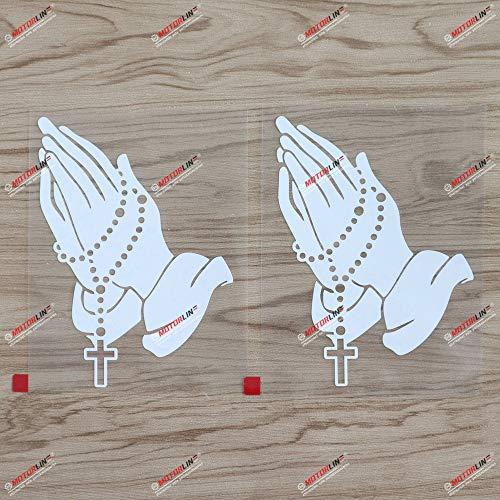 2X White 6'' Praying Hands Rosary Beads Decal Sticker Car Vinyl Catholic Christian