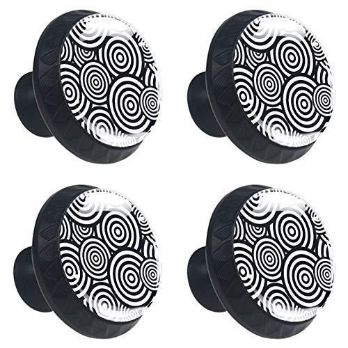 KAMEARI Pomos geométricos de color blanco y negro, 4 piezas, tiradores de cajón con forma de círculo, de cristal, con tornillos, para casa, cocina, oficina