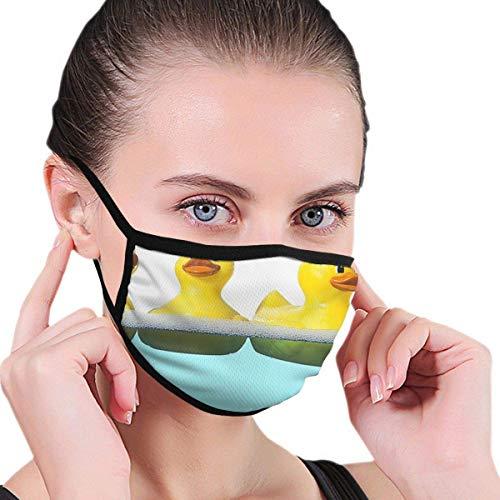 Gele eend in het zwembad mannen 'vrouwen' grafieken ademend wasbaar herbruikbare mond - afdekking voor feest