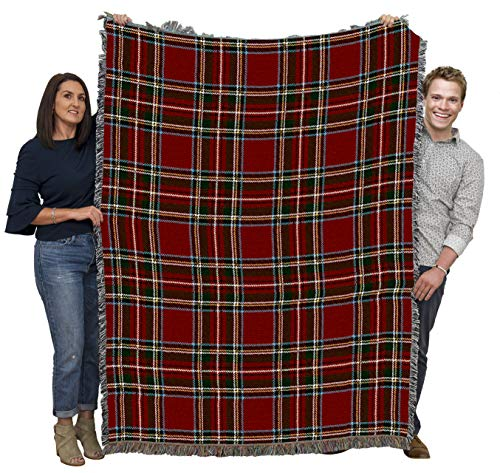 Pure Country Weavers Stewart Royal Plaid Tartan Blanket Throw Woven from Cotton - Made in The USA (72x54)