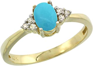 Silver City Jewelry 10K Yellow Gold Natural Turquoise Ring Oval 6x4mm Diamond Accent, Sizes 5-10