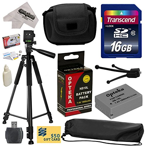 """Best Value Accessory Kit for Canon PowerShot G1X G16 G15 SX50HS SX40HS SX50 SX40 HS Digital Camera Includes 16GB High-Speed SDHC Card + Card Reader + Opteka NB-10L 1800mAh Ultra High Capacity Li-ion Battery Pack + Deluxe Carrying Padded Case + Professional 60"""" Tripod + Lens Cleaning Kit including LCD Screen Protectors Photo Print"""