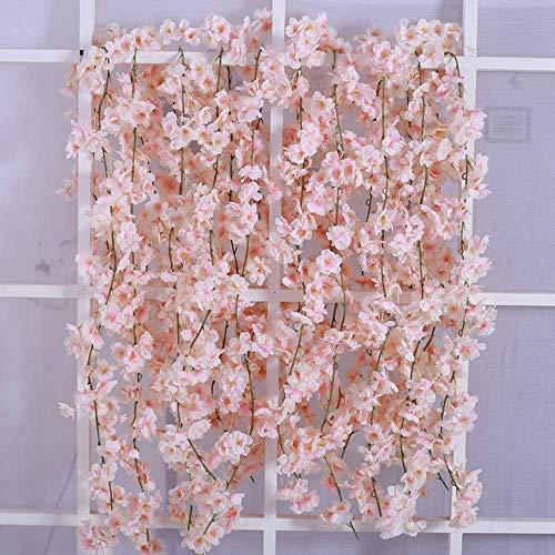 JUN-H Simulation Kirschblüten Girlande Künstliche Pflanzen Hängend Reben Hochzeit Home Festival Party Hof Zaun Dekoration 2 Stück 180 cm (Pulver weiß)