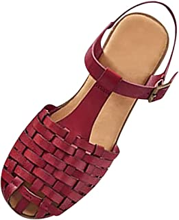 Womens Shoes Cut Out Cage Closed Toe Flat Sandals, LIM&Shop Low Wedge Ankle Strap Flats Shoes Roman Anti Skid