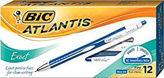 BIC Atlantis Exact Retractable Ball Pen, Fine Point (0.7 mm), Blue, 12-Count (packaging may vary)