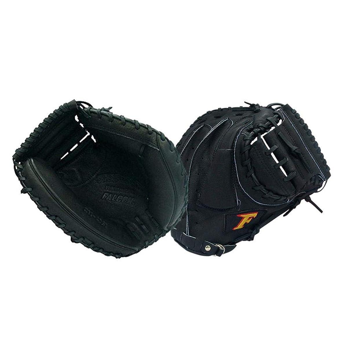 穿孔する王位ループ『親指革命』が捕球をサポート!! FALCON ファルコン 野球グラブ グローブ 軟式一般 捕手用 キャッチャーミット ブラック CM-4261 〈簡易梱包
