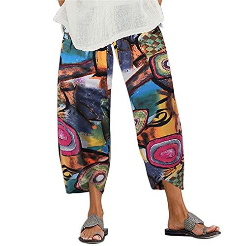 Lemany Pantaloni Larghi da Donna in Cotone e Lino Pantaloni a Gamba Incrociata Pantaloni Larghi con Elastico in Vita con Tasca