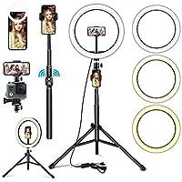 ▶【LED Ringlicht Stativ】Dimmbare 10.2 Zoll/ 5500K 160pcs LED Perlen, In Vergleich mit andren Selfie Fülllicht ist LED Ringlicht für Handy größer und leistungsstärker. 26cm Äußere 5500K 160 Stück LED-Lampen mit einer breiten Dimmbereich von 2700k - 550...