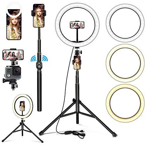 BISOZER Anillo de luz LED con mando a distancia, 10,2 pulgadas, 2 en 1, selfie, soporte para teléfono móvil, 3 colores y 11 niveles de brillo, para YouTube TikTok para grabación de vídeo