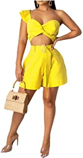 neveraway Women Fashion Pure Color Sexy 2 Pieces Sets Playsuit Shorts Rompers