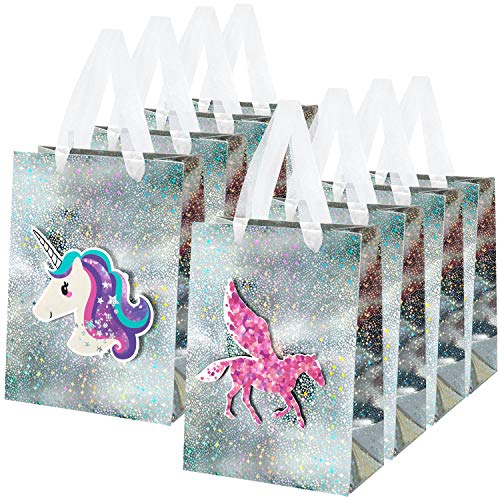 MOOKLIN ROAM 8pcs Bolsas de regalo de Unicornio 3D con asas de cinta, Bolsa de Papel Pegaso con diseños láser para Fiesta bodas cumpleaños Navidad Compras Alimentos, 18 x 10 x 25cm