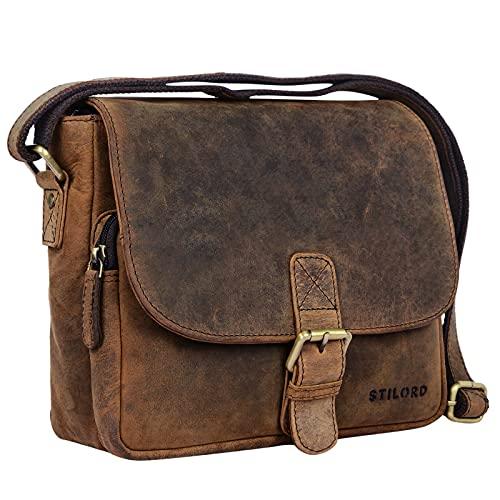 STILORD 'Lucian' Vintage Umhängetasche Leder klein für Herren und Damen Schultertasche für 10.1 Zoll Tablet iPad DIN A5 Handtasche aus echtem Leder, Farbe:Colorado - braun