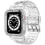 iMangoo Compatible con Apple Watch Correa 42mm 44mm, Transparente Antigolpes Resistente Correa de Reemplazo Deportiva de TPU Suave Compatible con Apple Watch Series SE/6/5/4/3/2 42mm 44mm - Claro
