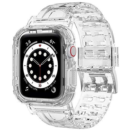 iMangoo Compatible con Apple Watch Correa 38mm 40mm, Transparente Antigolpes Resistente Correa de Reemplazo Deportiva de TPU Suave Compatible con Apple Watch Series SE/6/5/4/3/2 38mm 40mm - Claro