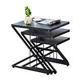 z shaped side table - Ansley&HosHo Nesting Tables 3 Piece Nested End Tables Z Shaped End Table Sofa Side Coffee Table Stacking Modern Industrial Nest of 3 Tables for Living Room Bedroom Reception Room Balcony Deck
